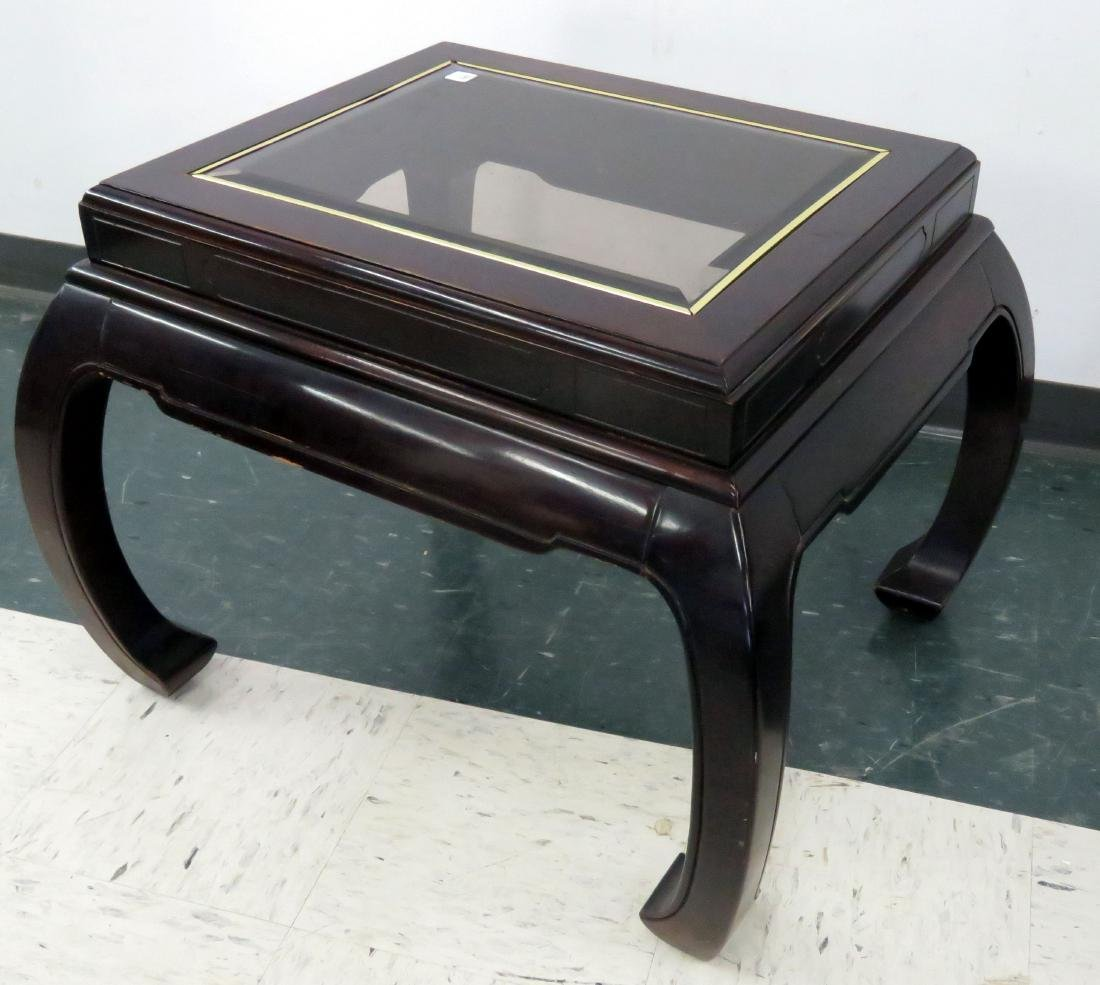 MID-CENTURY CHINESE STYLE STAND WITH INSET GLASS TOP.