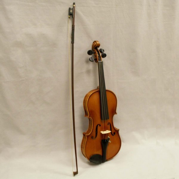 9: LOT (2) VIOLIN SIGNED ANTON SCHROETTER/BOW