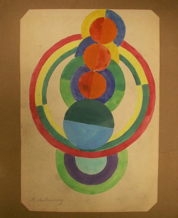 280: GOUACHE ON PAPER, ABSTRACT FORMS, R. DELAUNAY
