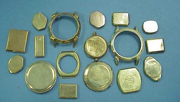 8: ASSORTED GOLD WRISTWATCH BEZELS/BACKS ETC