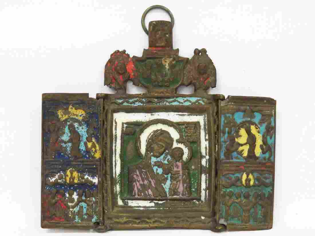 RUSSIAN BRASS TRAVELING ICON, MOTHER OF GOD (ENAMEL).