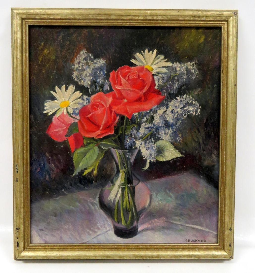 WILLIAM BRUCKNER (NY 1915-), OIL ON CANVAS, VASE WITH