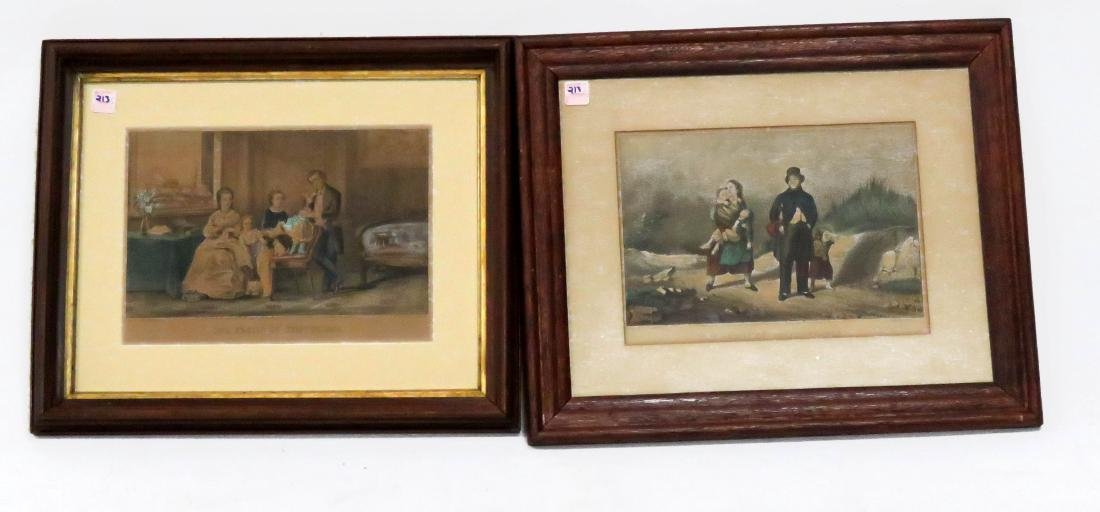 """LOT (2) CURRIER & IVES LITHOGRAPHS INCLUDING """"FRUITS OF"""