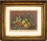 """CURRIER & IVES LITHOGRAPH, """"SUMMER FRUITS"""". 14 X 18"""