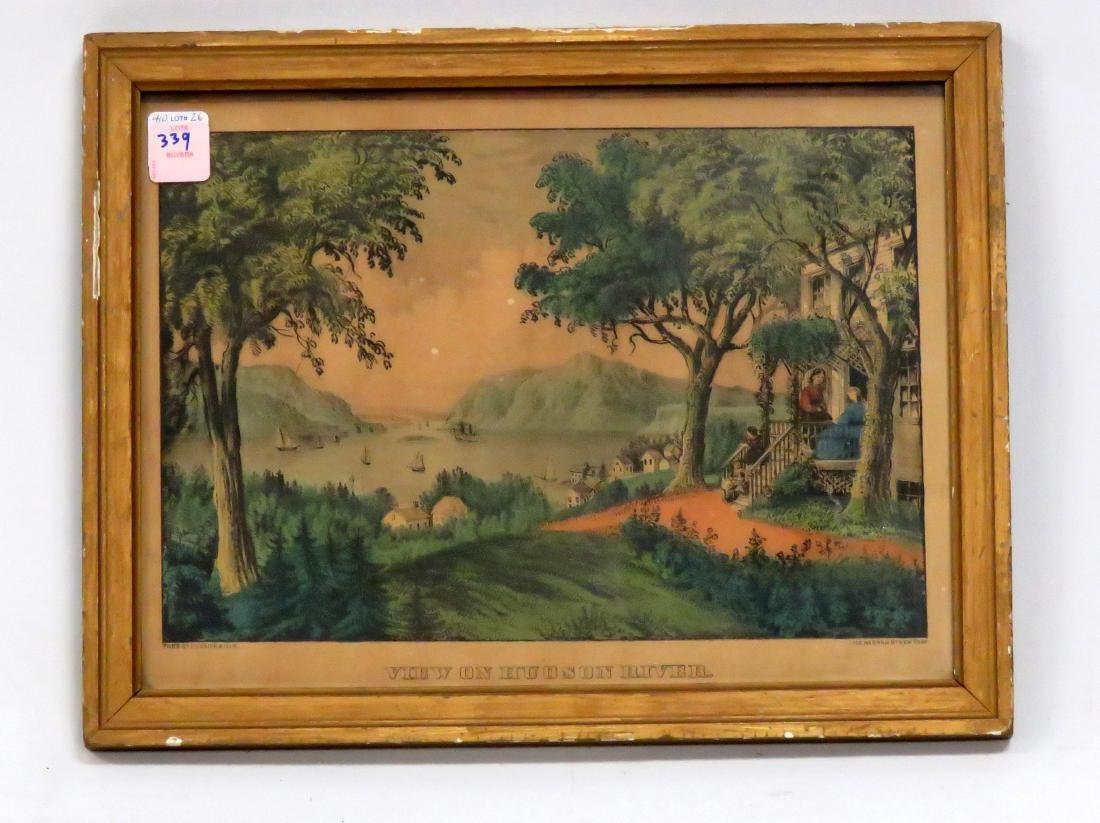 """CURRIER & IVES HAND COLORED LITHOGRAPH, """"VIEW ON THE"""