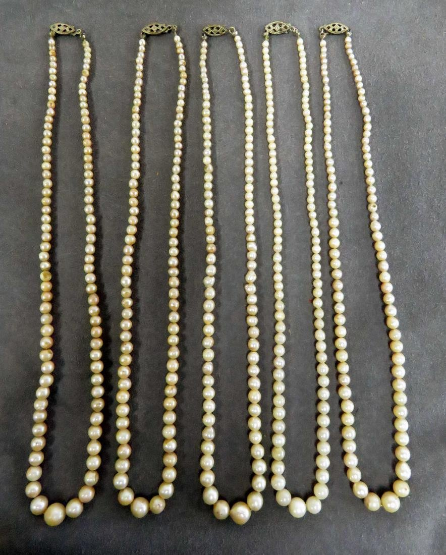LOT (5) STRANDS CULTURED PEARL NECKLACES WITH STERLING