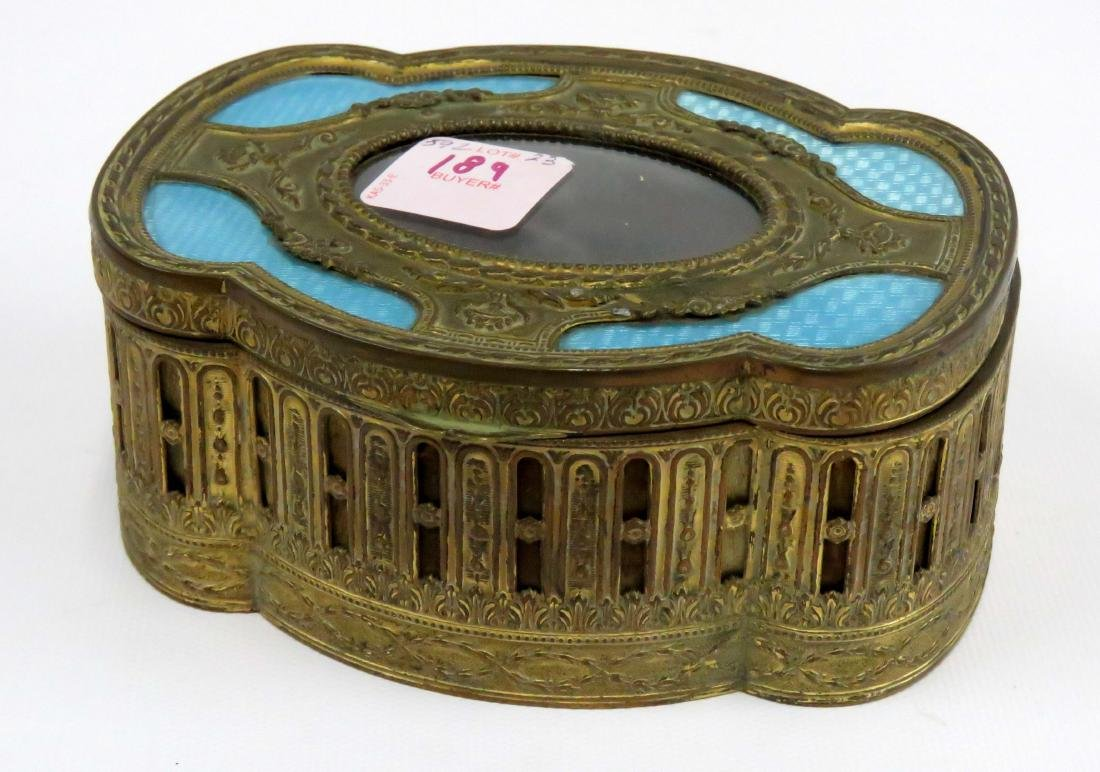VINTAGE FRENCH GILT BRASS AND GUILLOCHE DRESSER BOX.