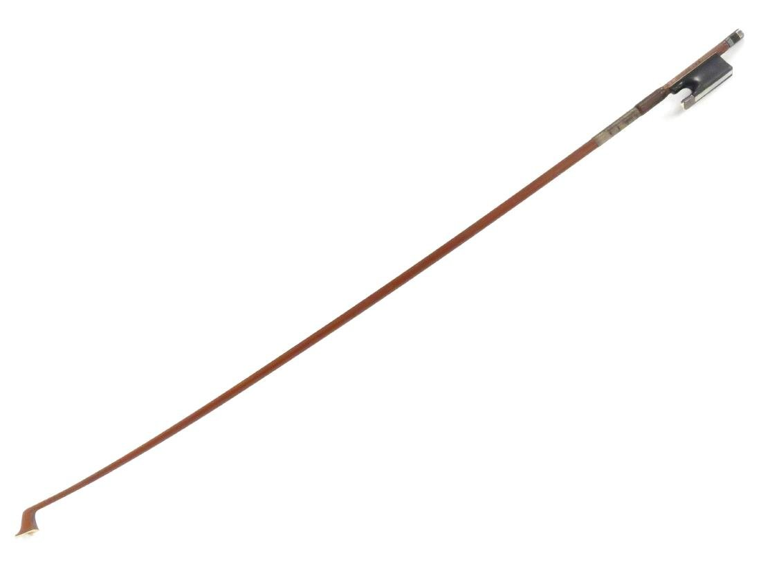 FINE GERMAN VIOLIN BOW WITH NICKEL AND MOTHER-OF-PEARL