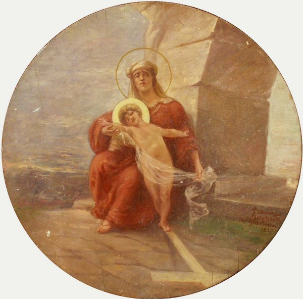 1001: PAINTING, ROUNDEL OF VIRGIN AND CHILD, SIGNED