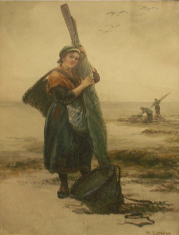 1016: WATERCOLOR, THE FISHER WOMAN, SIGNED W. SATTERLEE
