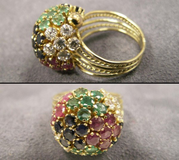 1024: 14K, RUBY, EMERALD, BLUE/WHITE SAPPHIRE RING