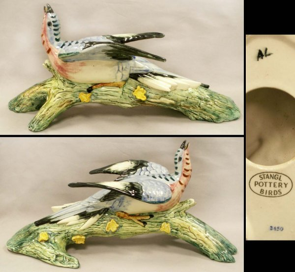 1286: STANGL POTTERY BIRD ON BRANCH