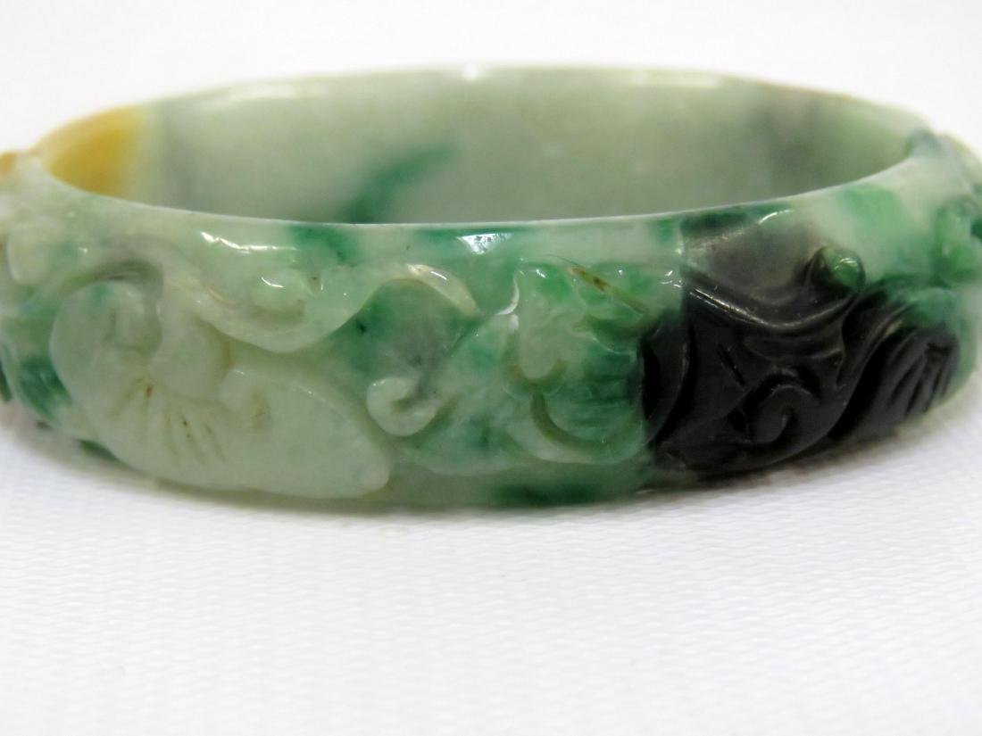 LOT (3) CHINESE JADE AND HARDSTONE BANGLE BRACELETS - 2
