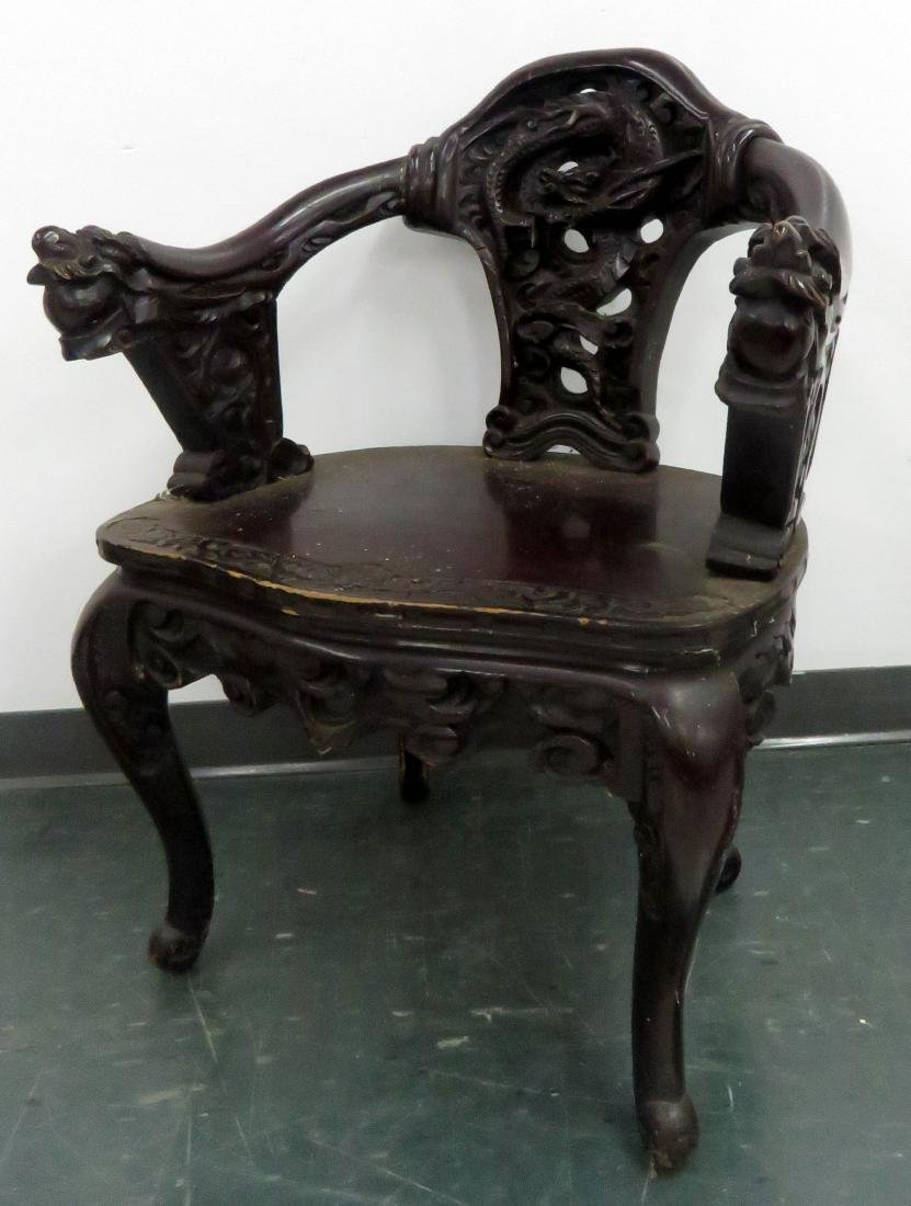 VINTAGE JAPANESE CARVED ROSEWOOD DRAGON ARMCHAIR (ARM