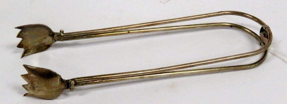 "PAIR STERLING TONGS. LENGTH 6 1/2""; 1.58 OZT"
