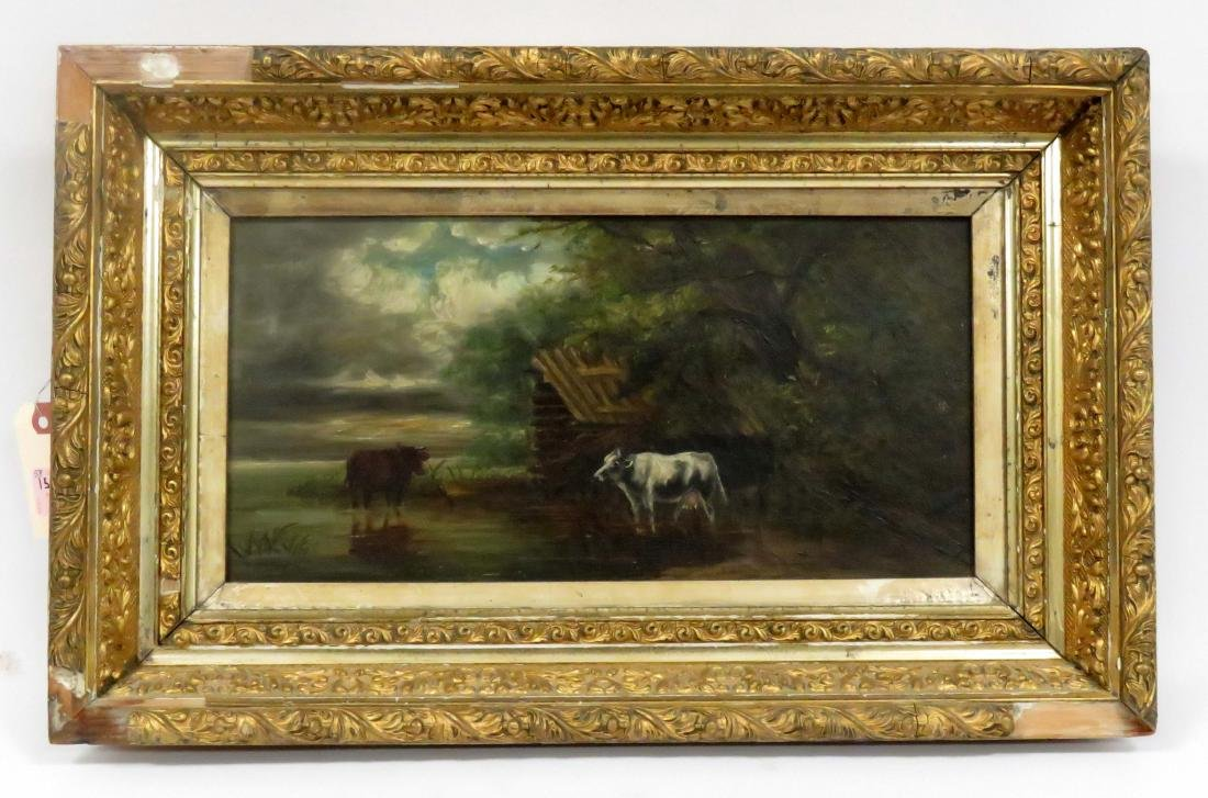 AMERICAN SCHOOL (20TH CENTURY), OIL ON CANVAS, COWS