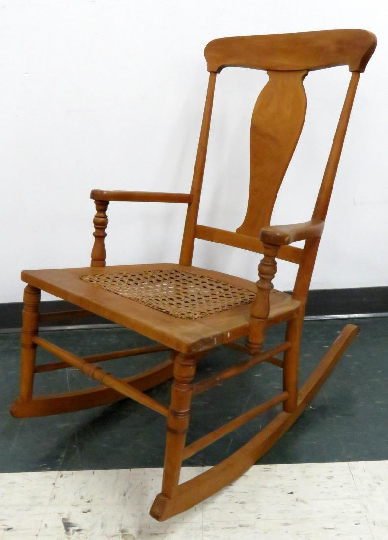 VICTORIAN MAPLE ROCKING CHAIR WITH CANED SEAT