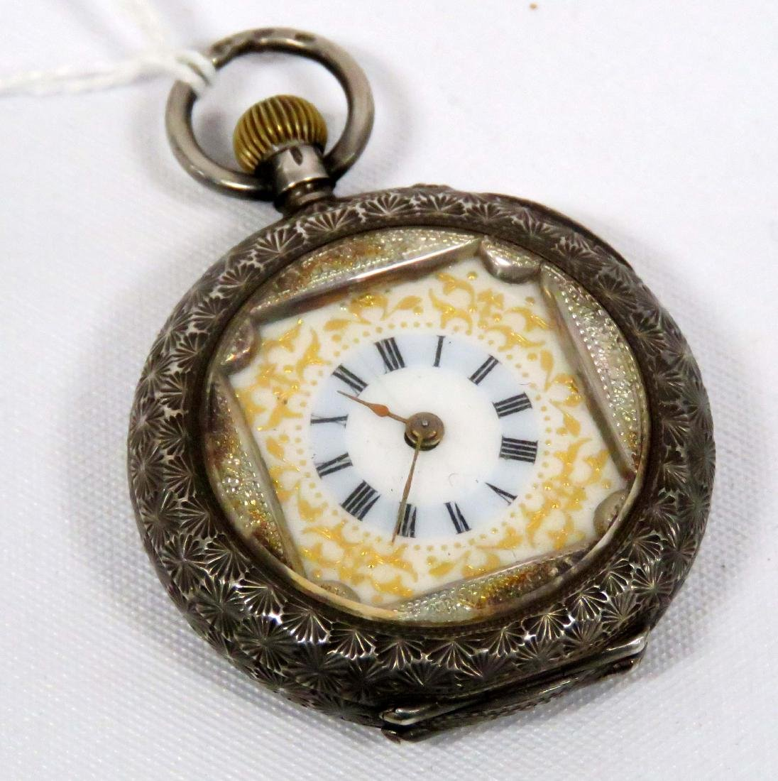 CONTINENTAL .935 SILVER AND ENAMEL BUTTON SET PENDANT