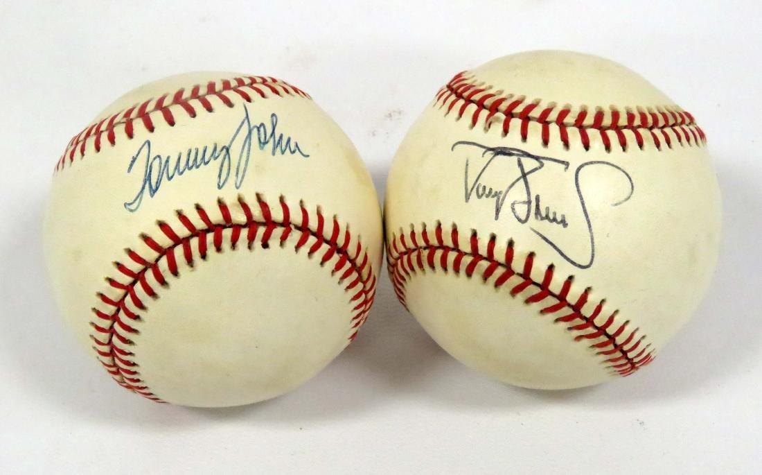 LOT (2) MLB SIGNED BASEBALLS INCLUDING TOMMY JOHN &