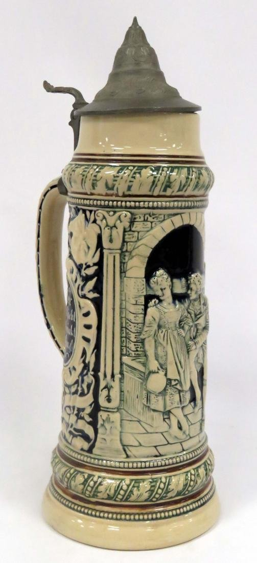 """GERMAN 2L STONEWARE STEIN WITH PEWTER LID. HEIGHT 16"""""""