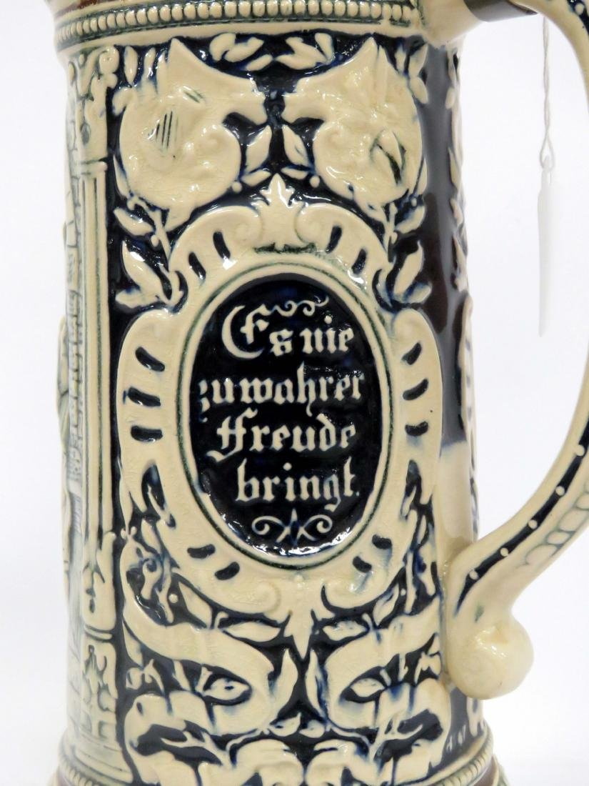 """GERMAN 2L STONEWARE STEIN WITH PEWTER LID. HEIGHT 16"""" - 2"""