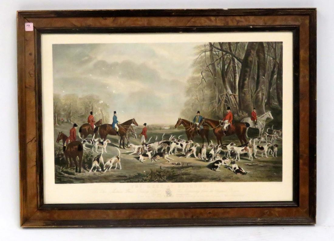 "AFTER J.W. SNOW, HAND COLORED ENGRAVING, ""THE MEET AS"