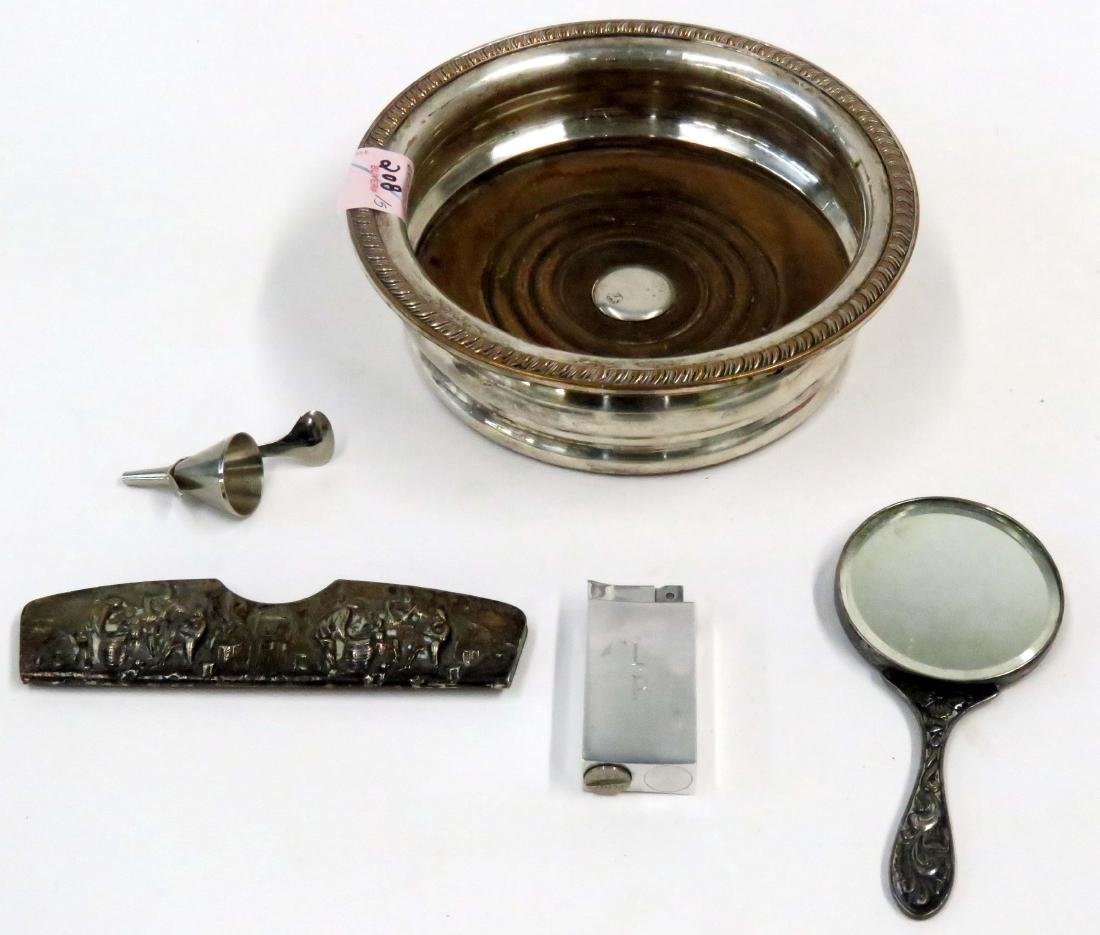 LOT (5) SILVER PLATE INCLUDING SHEFFIELD WINE COASTER,