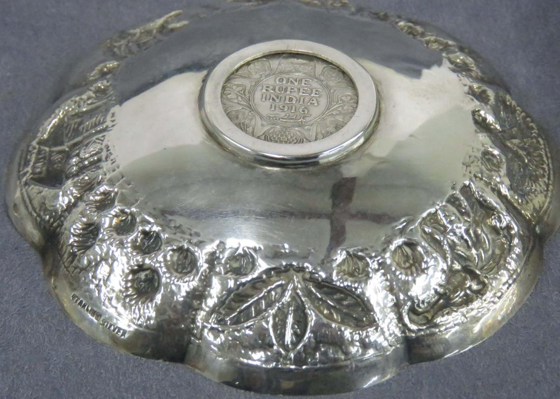 INDIAN REPOUSSE STERLING SILVER DISH WITH INSET 1916 - 2