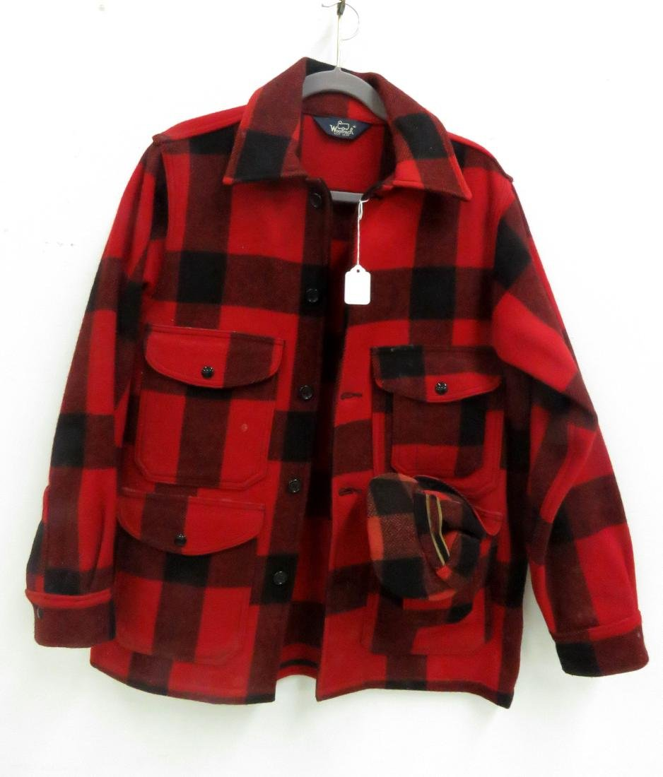 LOT (2) INCLUDING WOOLRICH RED/BLACK HUNTING JACKET,