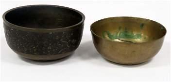 LOT (2) CHINESE/S.E. ASIAN BRONZE/MIXED METAL BOWLS.
