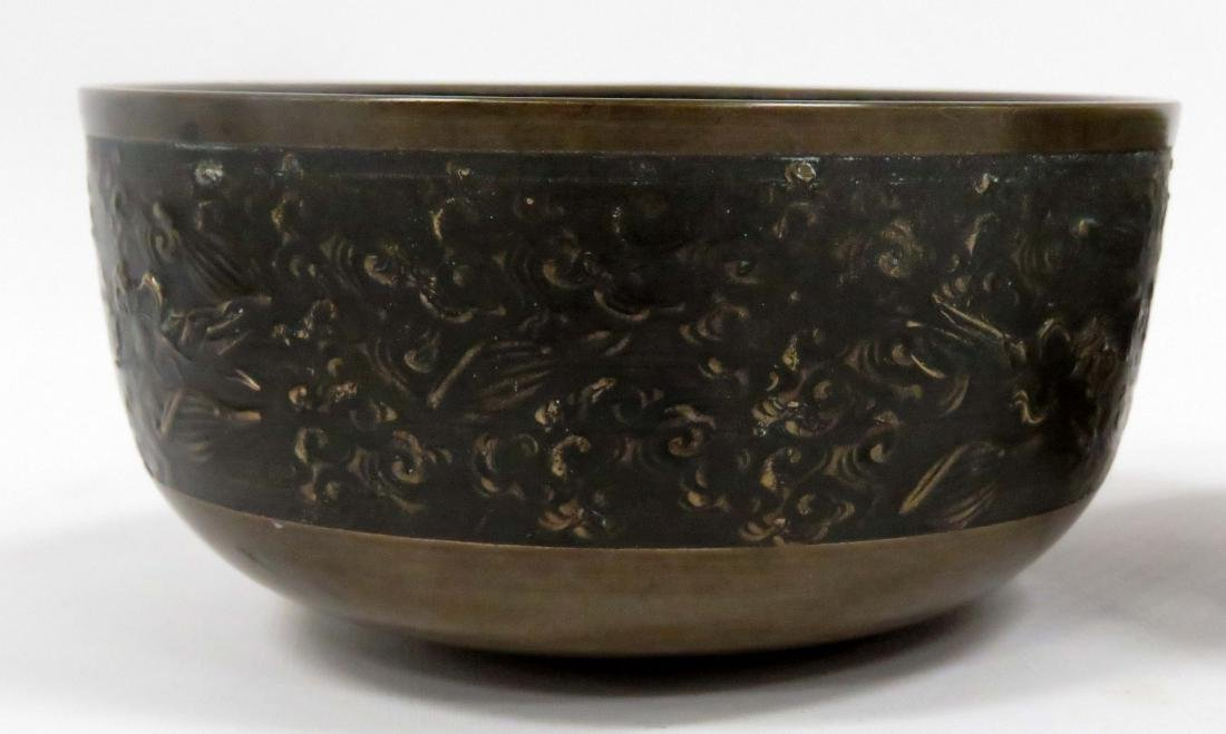 LOT (2) CHINESE/S.E. ASIAN BRONZE/MIXED METAL BOWLS. - 3