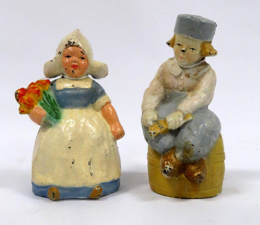 LOT (2) HUBLEY PAINTED CAST IRON DUTCH BOY & GIRL STILL