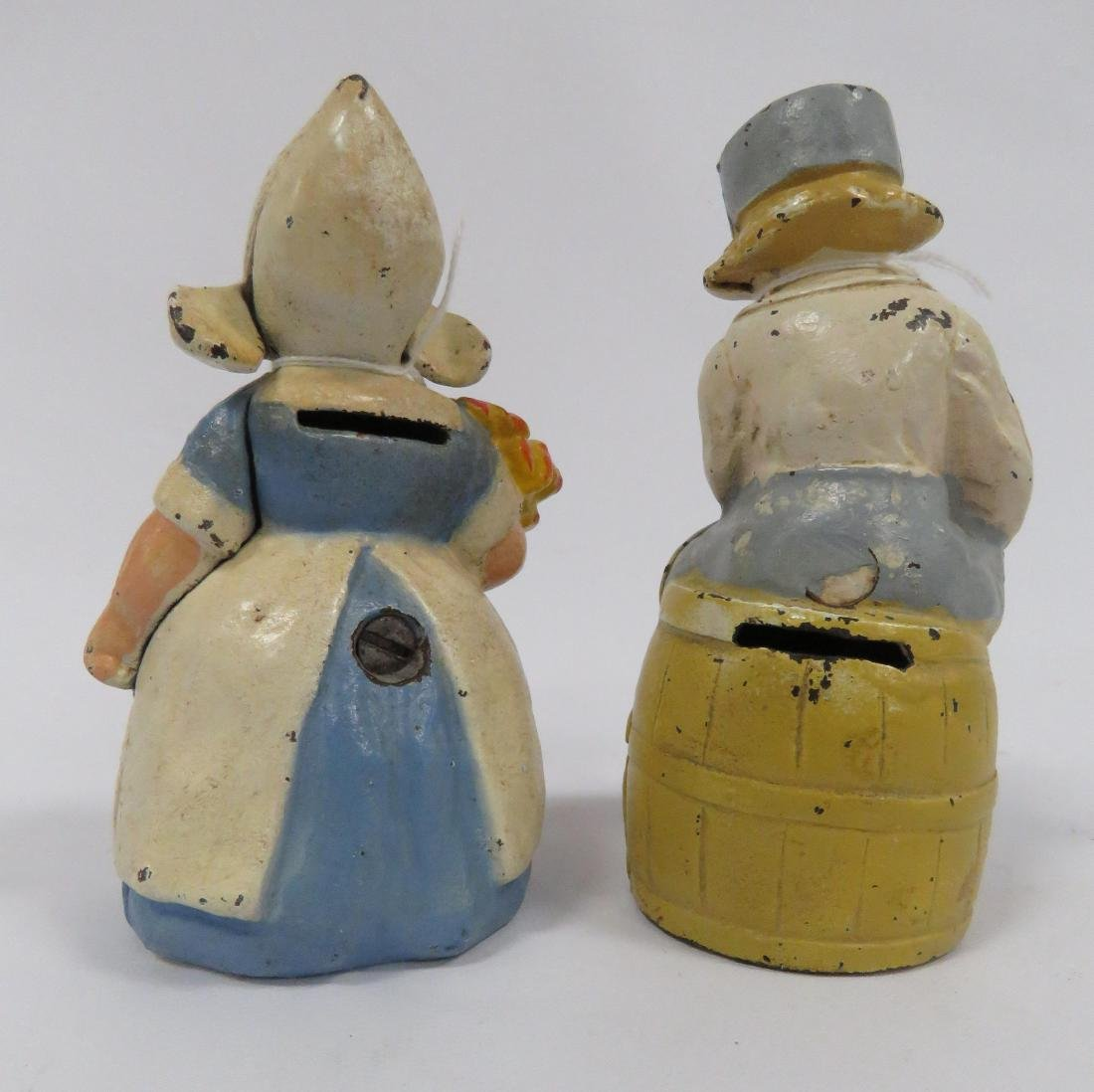 LOT (2) HUBLEY PAINTED CAST IRON DUTCH BOY & GIRL STILL - 2