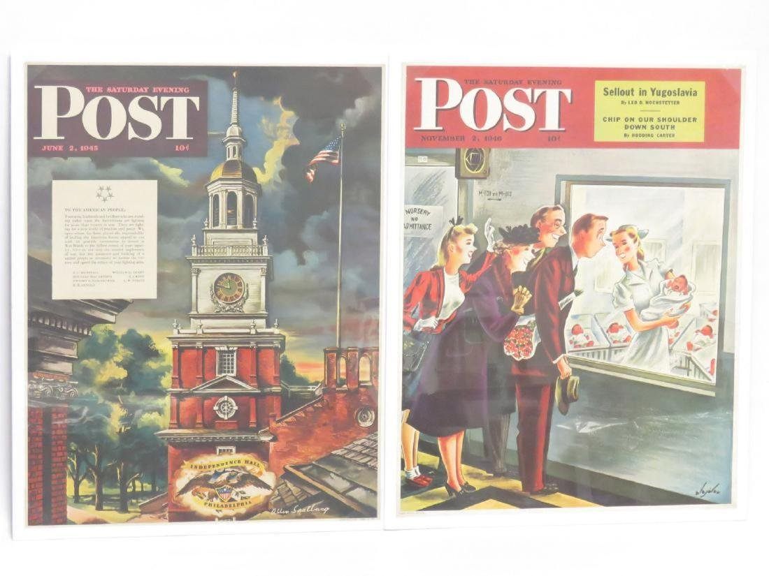 LOT (7) VINTAGE LITHOGRAPHIC POSTERS, SATURDAY EVENING - 4
