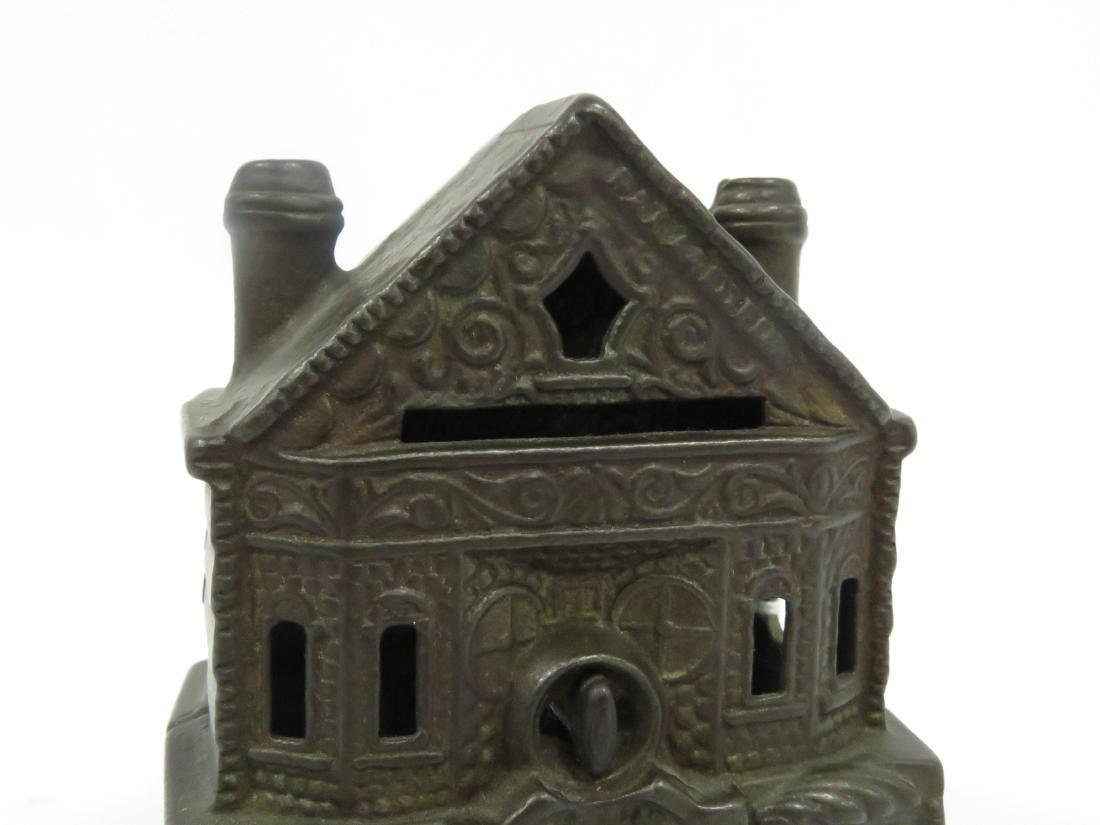 J & E STEVENS CAST IRON VICTORIAN HOUSE STILL BANK. - 3