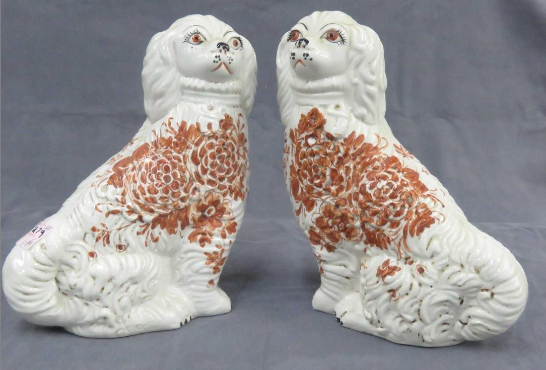PAIR STAFFORDSHIRE DECORATED POTTERY DOGS. HEIGHT 10""