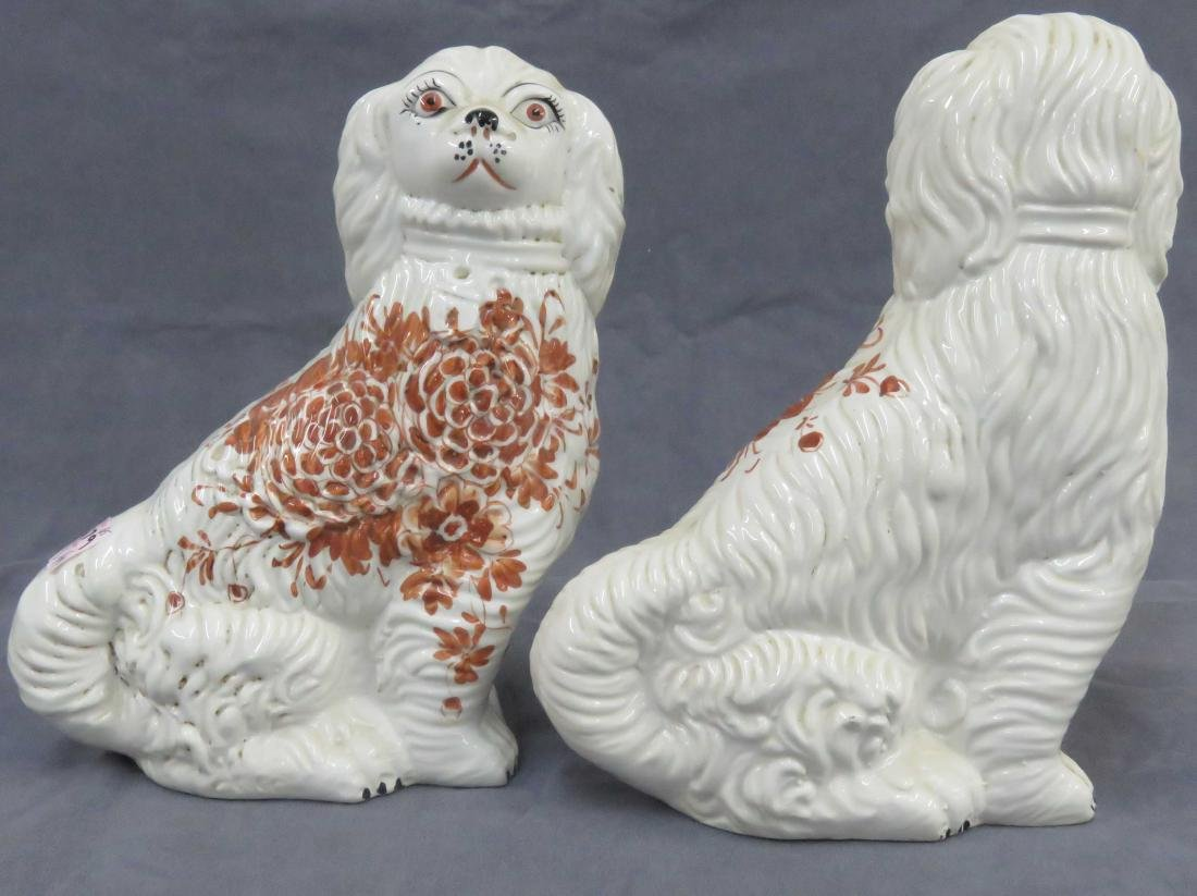 "PAIR STAFFORDSHIRE DECORATED POTTERY DOGS. HEIGHT 10"" - 2"
