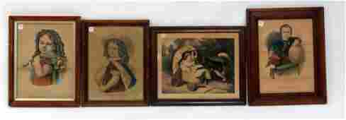 LOT 4 CURRIER  IVES LITHOGRAPHS INCLUDING THE YOUNG