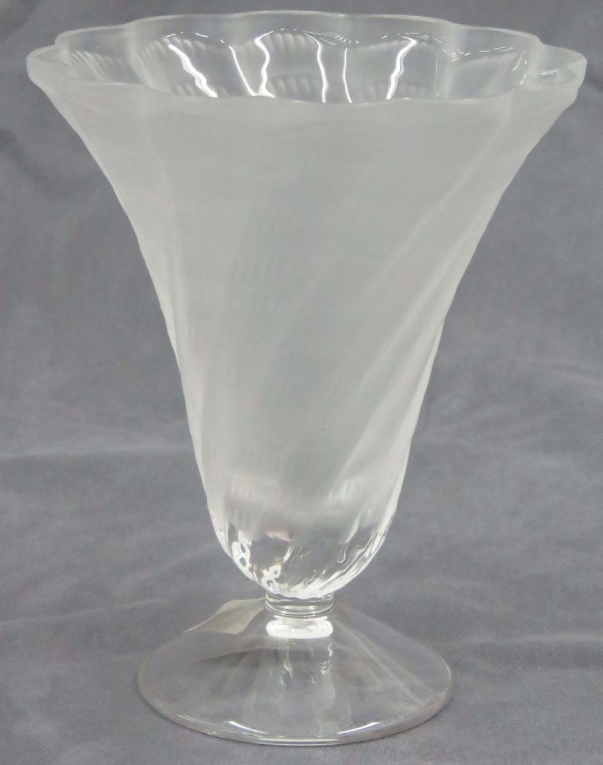 "LALIQUE FRANCE, ""LUCIE"" CRYSTAL VASE, SIGNED. HEIGHT 6"""