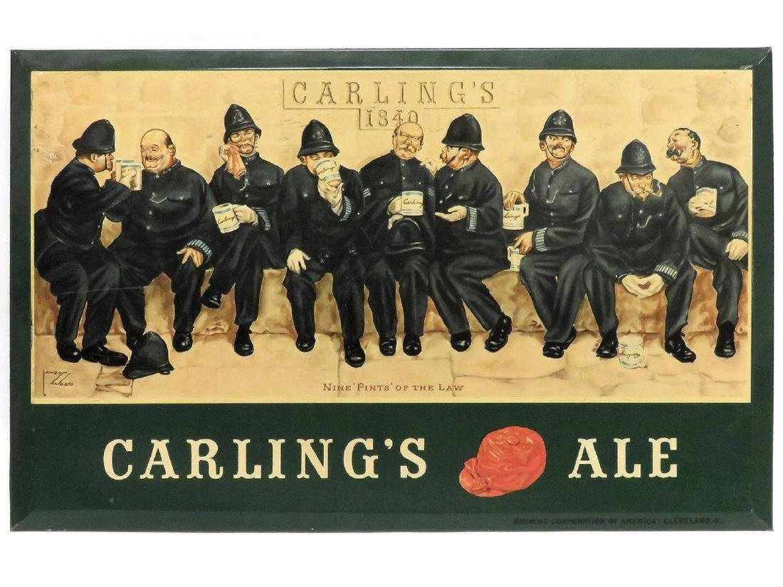 """LOT (2) INCLUDING LITHOGRAPH ON METAL, """"CARLINGS ALE"""""""