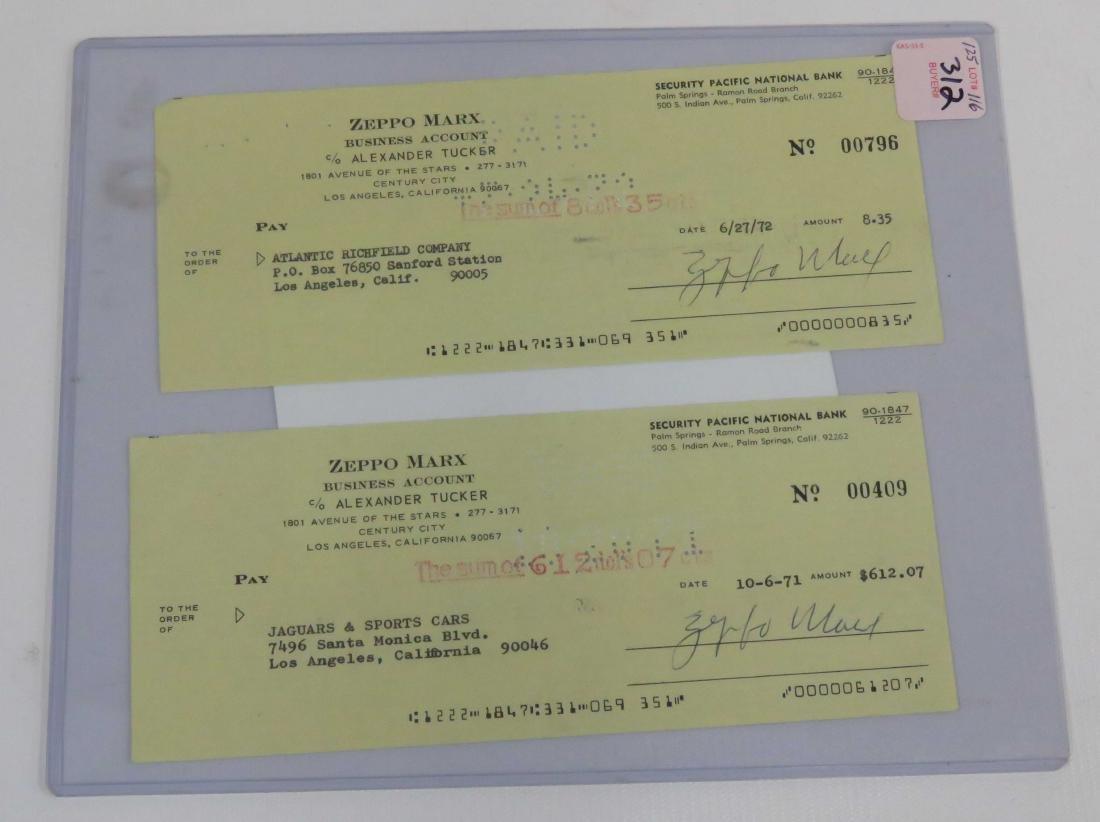 LOT (2) ZEPPO MARX SIGNED BUSINESS CHECKS INCLUDING