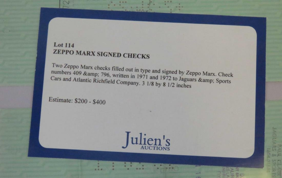 LOT (2) ZEPPO MARX SIGNED BUSINESS CHECKS INCLUDING - 2