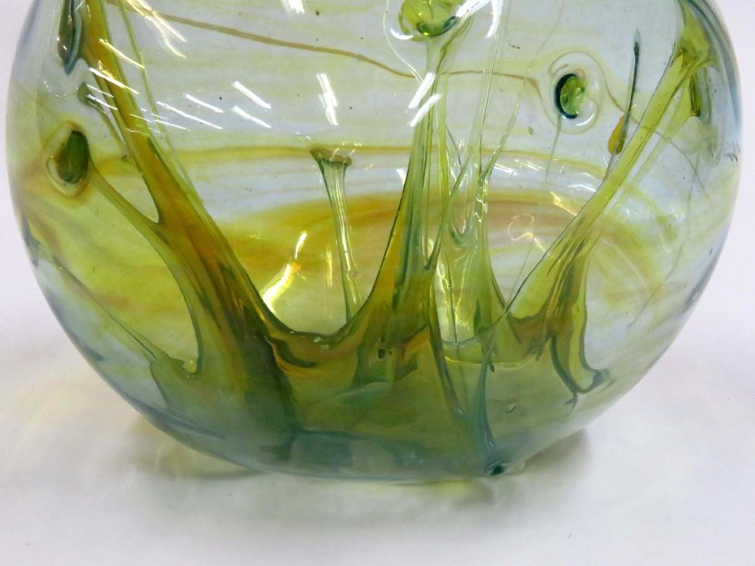 "HAND BLOWN ""WITCH BALL"" VASE, SIGNED. HEIGHT 8 1/4"" - 2"