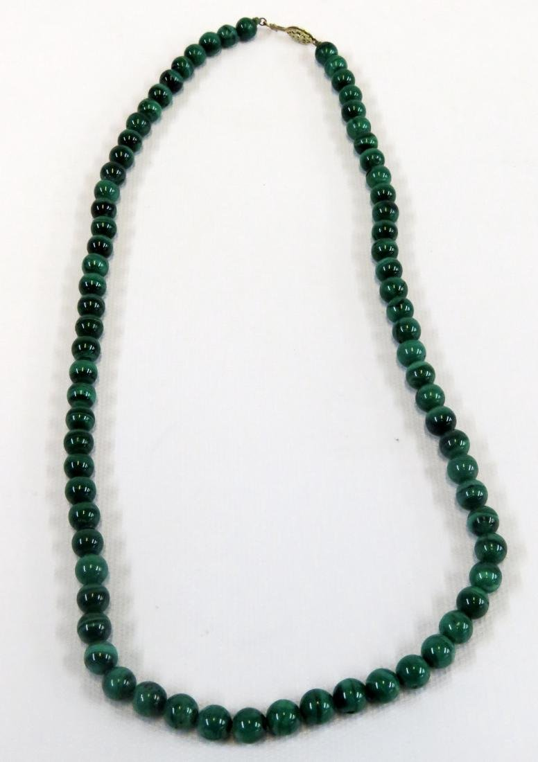 STRAND 7.73-8.19 MM MALACHITE BEADED NECKLACE. LENGTH