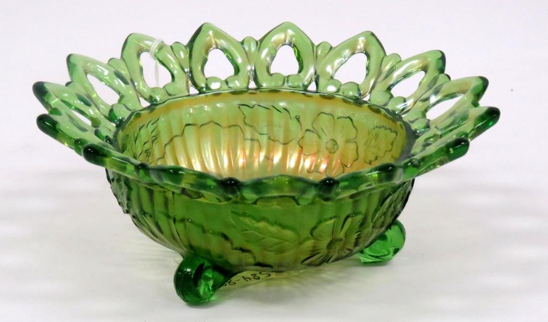 VINTAGE GREEN CARNIVAL GLASS (NORTHWOOD) FOOTED BOWL.