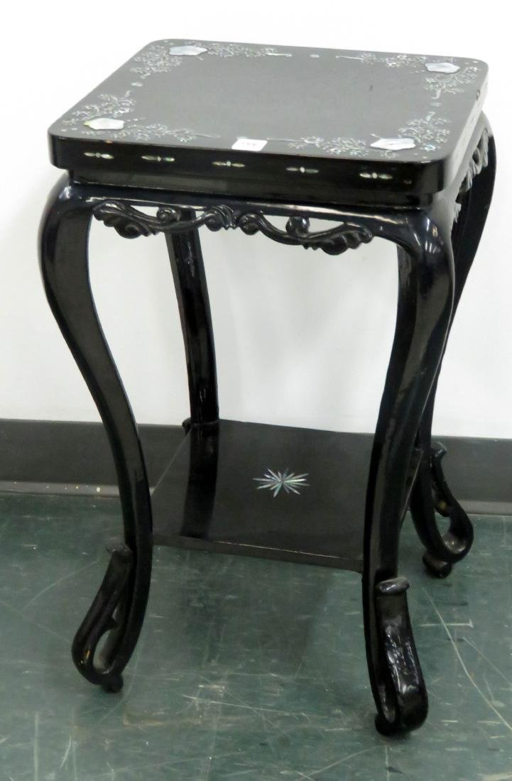 CHINESE LACQUERED AND MOTHER-OF-PEARL MOUNTED STAND.