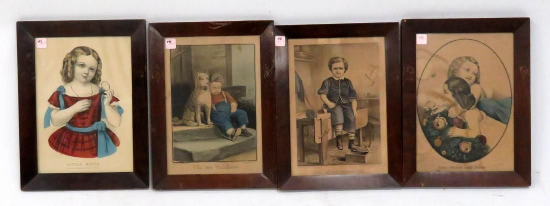 "LOT (4) CURRIER & IVES LITHOGRAPHS INCLUDING ""THE"