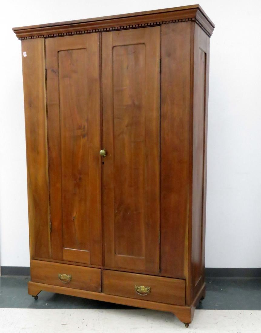 CHERRY DOUBLE-DOOR DOUBLE DRAWER CABINET, 19TH CENTURY.