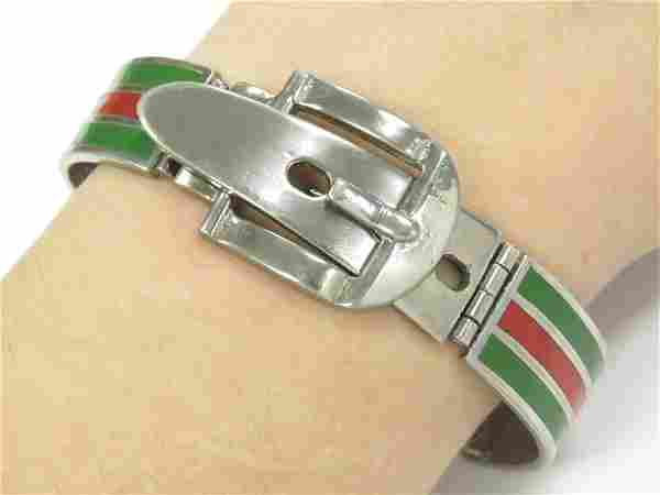 """GUCCI STYLE STERLING AND ENAMEL """"OFF THE CUFF"""" MEN'S"""