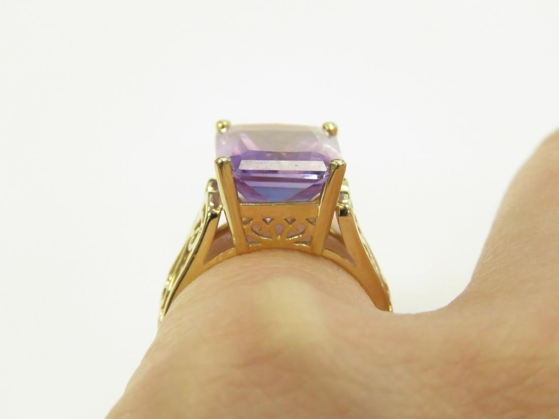 14K YELLOW GOLD AND AMETHYST RING, AMETHYST - 2